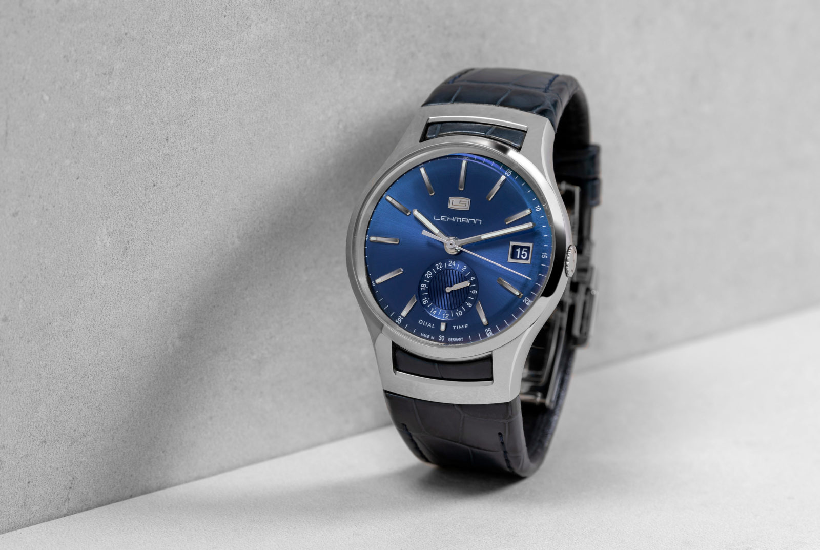 Lehmann Uhren Dual Time in blau