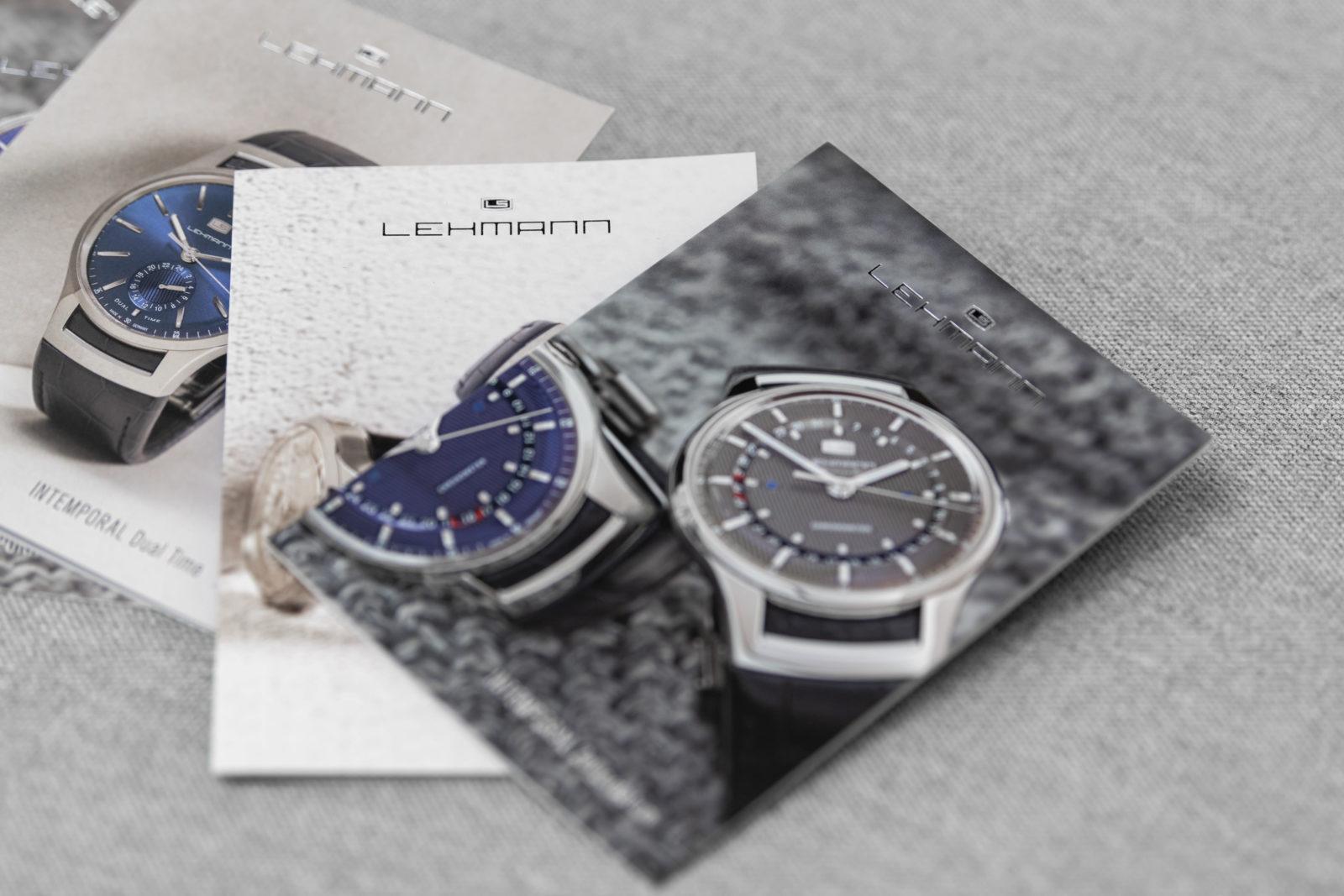 Lehmann Uhren Postkarten mit IINTEMPORAL Zeigerdatum